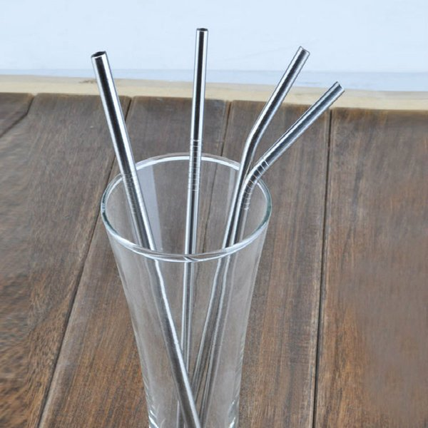 """500pcs /Lot 8mm *215mm (8 .5 """")Reusable Metal Stainless Steel Straight Bent Drinking Straws Bar Accessory Free Shipping"""