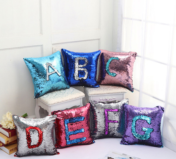 Sequin Pillow Case Mermaid Pillow Cover Shiny Reversible Sofa Magic Paillette Diy Cushion Cover Hot Sale Outdoor High Back Chair Cushions Clearance