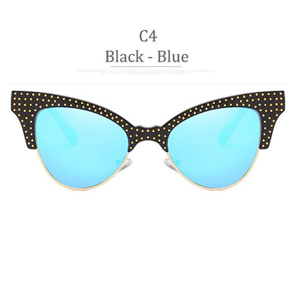 Lente blu con montatura nera lucida C4