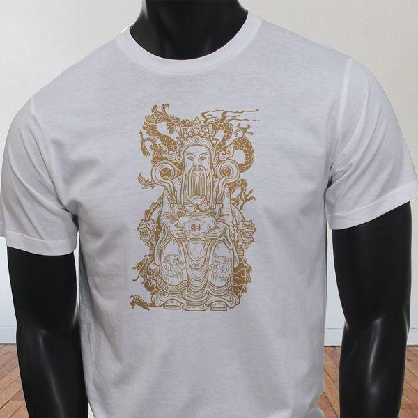 Happiness Chinese Asian Buddha Zen Dragon Mens Black Long Sleeve T-Shirt