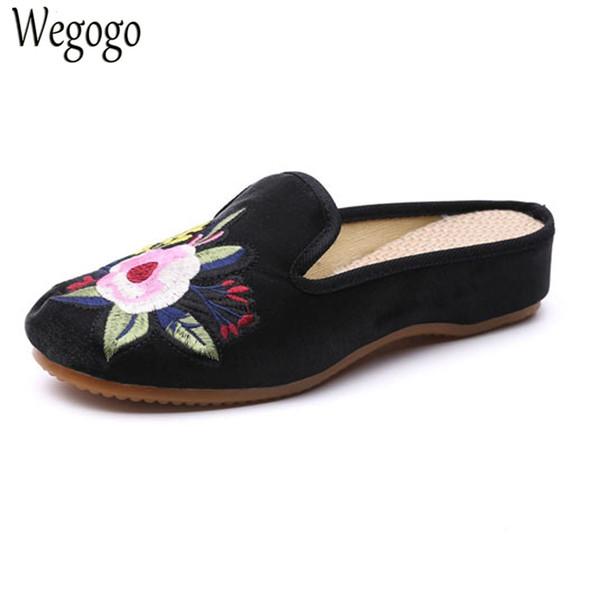 Wegogo Frauen Slipprs Old Peking Faux Wildleder Sandalen Vintage Blumenstickerei Lady Comfort Slip-on Sommer Coon Schuhe Frau