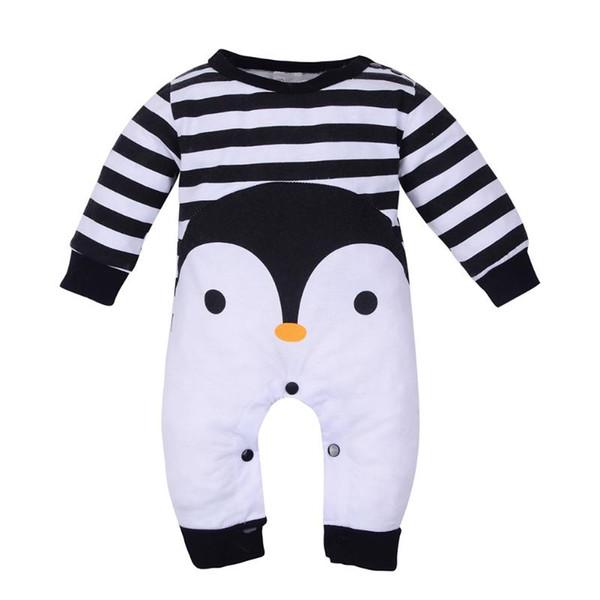 8738eb2591e Baby Boy Clothes 2018 Newborn Long Sleeve Romper Lovely Cartoon Penguin  Animal Striped Jumpsuit Fashion Infantil Clothing