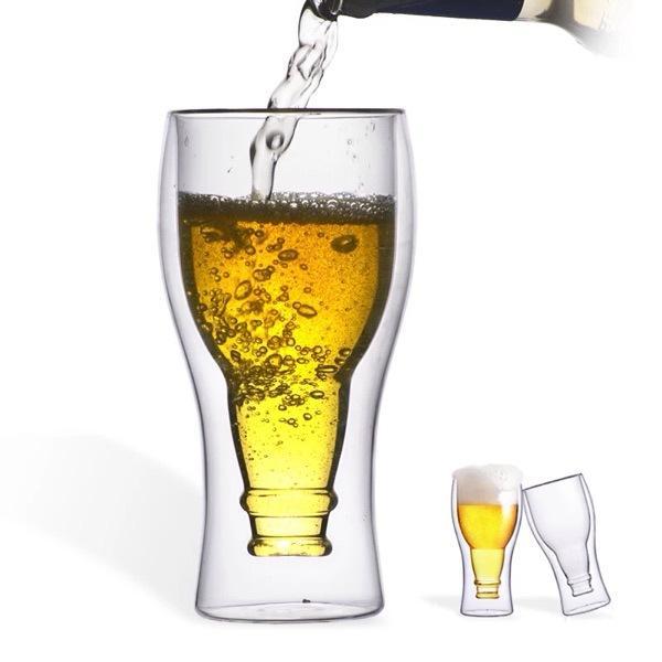 Creative Flip Beer Double Layer Glass Cup Beverage Cups Water Milk Juice Wine Glasses Copos