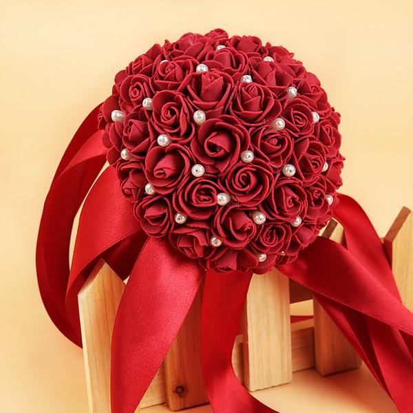 Ramos de Novia Romantic White Wedding Bouquet with Ribbon Flower Rose Handmade Artificial Bridal Bouquet Wedding Accessories CPA1588