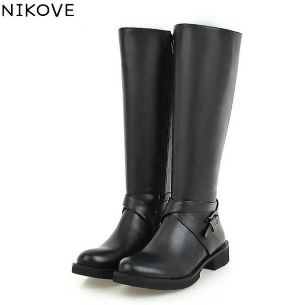 NIKOVE 2019 Fashion Women Shoes Winter Boots All Match Women Knee High Boots Black White Square Heel Shoes Size 34-43