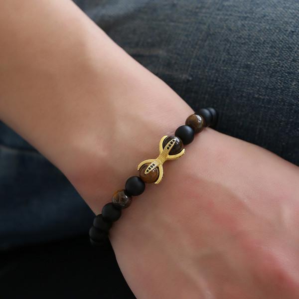 Nouveau Micro Zircon Griffe Quatre Angle 8mm Black Stone Power Bracelet bracelets pour femmes hommes bijoux feminina