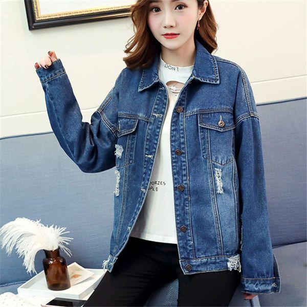 Korea Fashion Autumn Winter Women BF Hole Denim Jacket Femme Vintage Harajuku Solid Jeans Jacket Blue Bomber Coat Outerwear