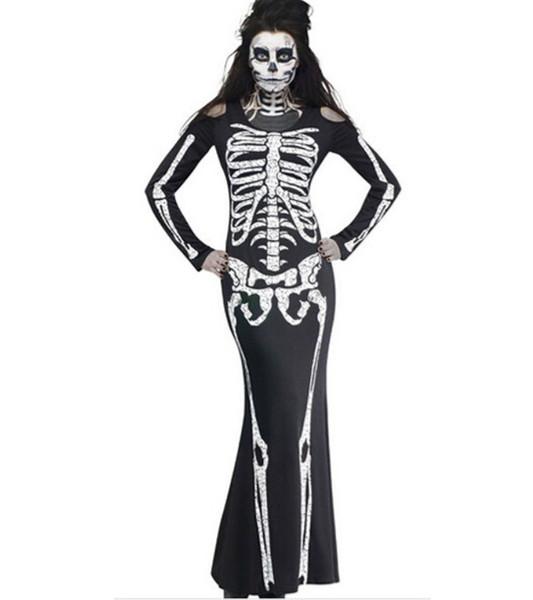 Cadılar bayramı Kostümleri Kadın Giyim İskelet Çerçeve Baskı Uzun Kollu Uzun Elbiseler Kadınlar Hayalet Elbiseler Parti Cosplay