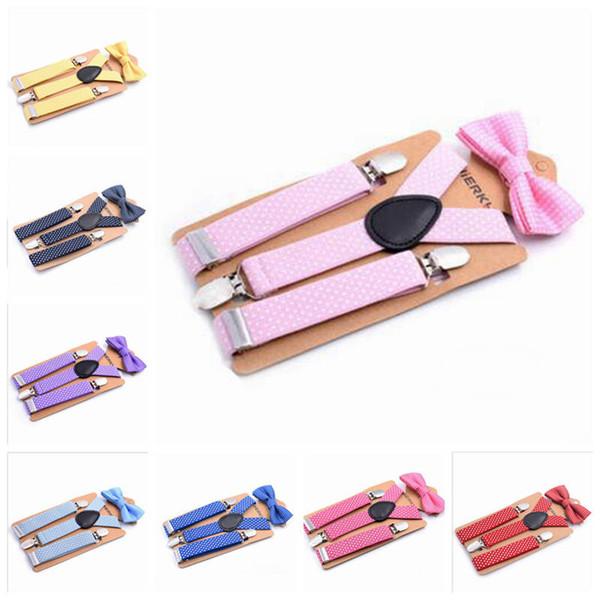 Дети галстук костюм ребенка подтяжки галстук-бабочку набор детские брекеты эластичный Y-обратно мальчиков девочек школа подтяжки аксессуары 14 цветов YL597