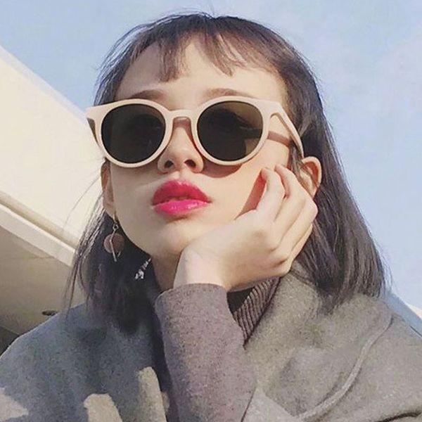 2018 New Korea V Hot Designer Cat Eye Sunglasses Women Pink Candy Round Tinted lens Sun Glasses For Ladies Luxury shades UV400