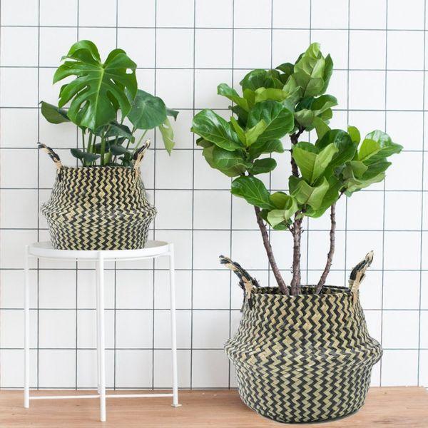 Natural Rattan Flower Basket Planter Basket Foldable Seagrass Basket Laundry R Home Garden Decor Nursery Pots