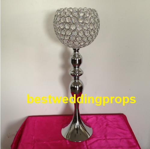 Hot Sale Gold Silver glass Candlestick Wedding Props Table Ornament Candle Holders Home Decor Candelabras With Crystal Pendants best0246