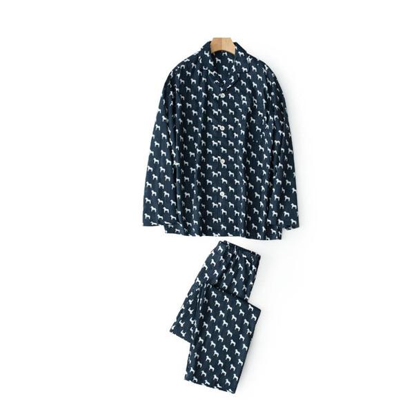 Cotton 2 Piece Sleepwear Navy Blue Men Pajama Sets Printed Casual Nightwear Pijamas Pyjamas Long Sleeve Shirt&Pants Sleep Set