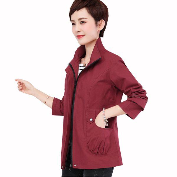 Women Spring Autumn Cotton Coat 2018 New Mid-Aged Female Long Sleeve coats Ladies Loose Trench Coat Casaco Feminino ZS454