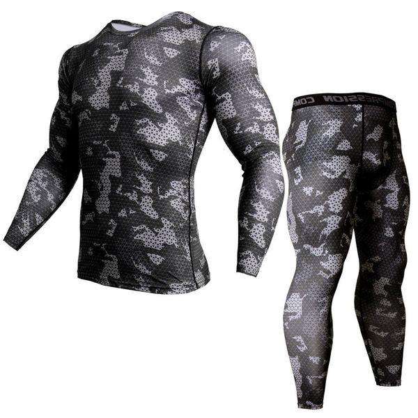 Traje de invierno para hombre Para hombre Ropa interior térmica Camuflaje Chándal Trajes MMA Conjunto Rashguard Bodybuilding camiseta S-XXXL