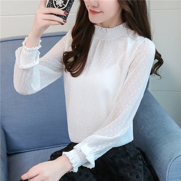 Fashion Tops Sweet Floral Chiffon Shirts Loose Stand Puff Sleeve Long Sleeve Blouse Underwear New Autumn Women Blouse Z2025