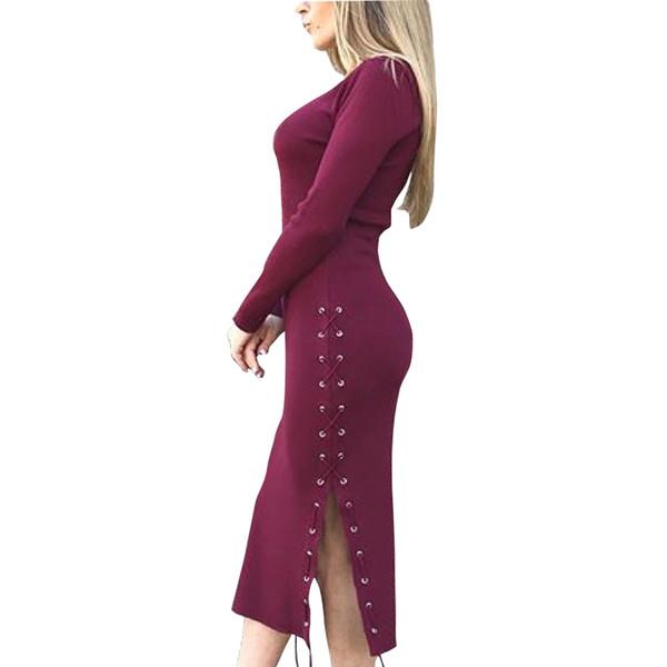 Lace Up Dividir lado Mujeres atractivas Mediados de la pantorrilla Vestido de manga larga Sexy Bodycon 2018 Invierno Femme vaina de punto vestidos GV1041