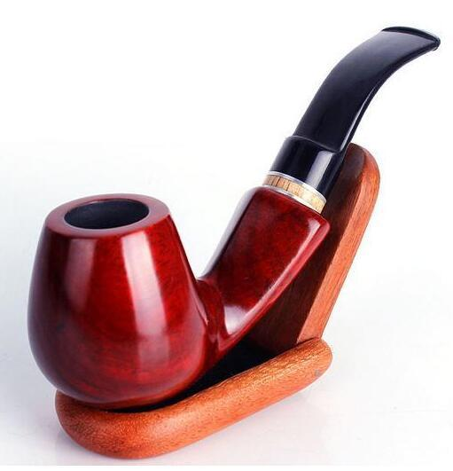 Wholesale hot sell Smoking Accessories Red sandalwood curved tobacco pipes 9mm filter element
