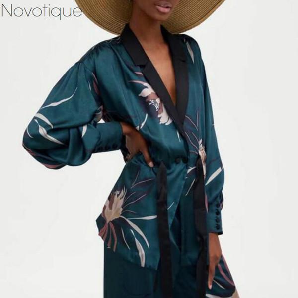 Tie Waist Prited Floral Kimono Embroidery Bow Sash Tailored Collar Blouse Vintage Harajuku Suit Women 2018 Spring Blusas Shirt