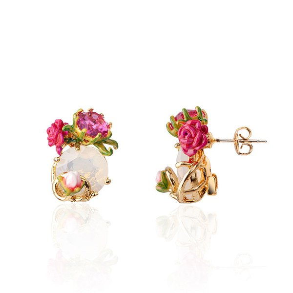 Warmhome joyas de moda esmalte esmalte de cobre Romántico joyas de flor rosa lindo rojo para mujeres pendientes