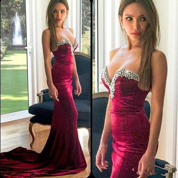 Borgonha De Veludo De Cristal Robe De Soirée Querida Sereia Desgaste Da Noite Longo Prom Formal Vestidos de Festa Especial Ocasião Vestido