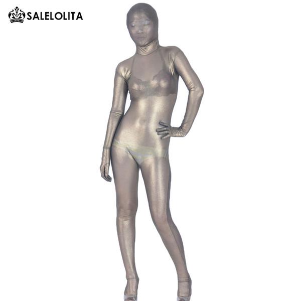 Hohe Qualität Sexy Ein Halb Transparent Dark Gold / Lila / Schwarz Lycra Voller Body Halloween Zentai Catsuit Für Frauen