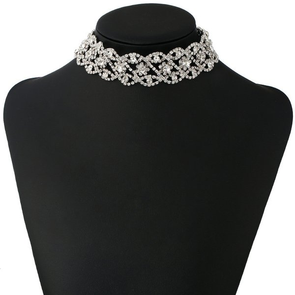 New fashion hollow full rhinestone collar necklace Instagram street beat party show accessories Yiwu small jewelry wholesale