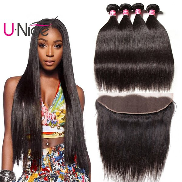 UNice Hair Raw Indian Straight Human Hair Bundles With Lace Frontal Virgin Hair Lace Frontal With Weave Bundles Wholesale Cheap Bulk Silk
