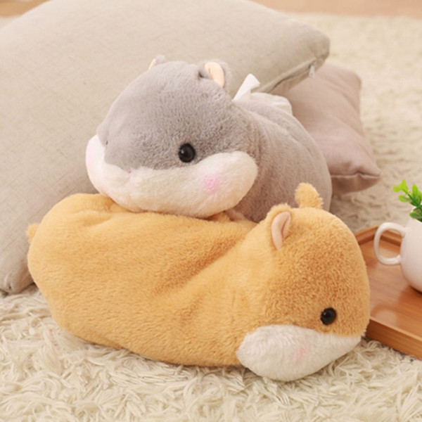 Cute 1pc 30cm cartoon hamster squirrel plush paper towel case Vehicle tissue box creative stuffed toy creative gift