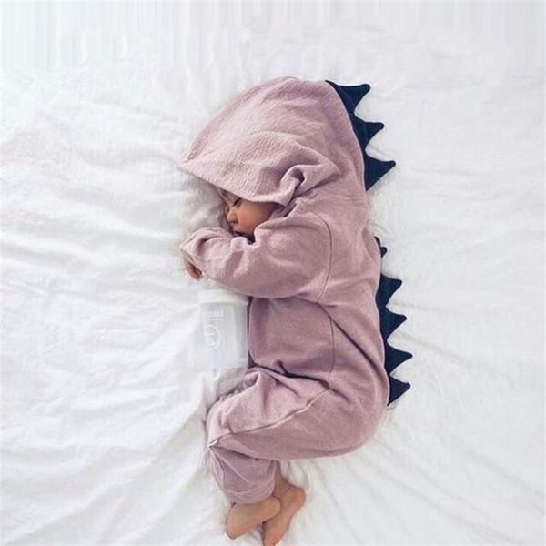 Hot INS Baby Dinosaurier Strampler Outfits Langarm Jungen Mädchen Mit Kapuze Outwear Overalls Strampler Baby Kleinkind Kleidung Strampler Playsuit