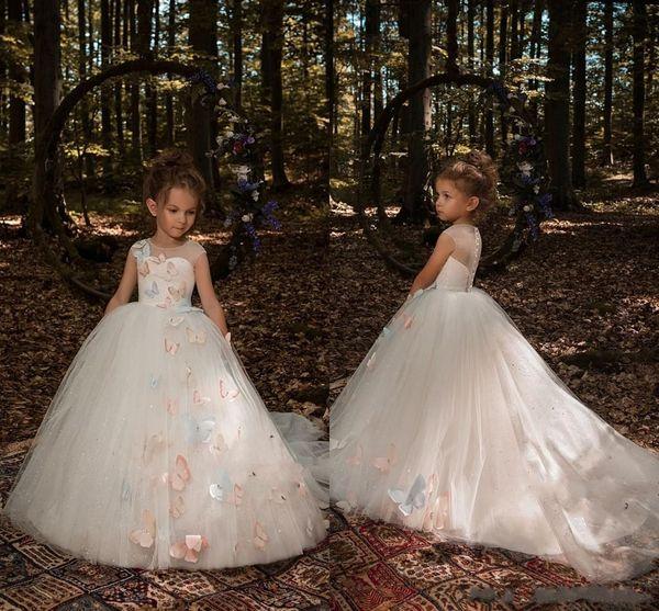 2018 Cute 3D Butterfly Appliques floreali Flower Girls Dresses Cap Sleeves Tulle Princess Long Little Girls Pageant Dresses Formal Wears