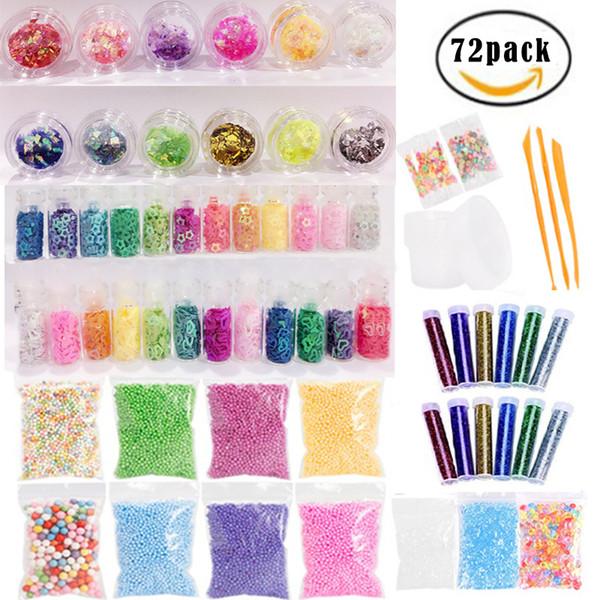 72 pcs Slime toy Supplies Kit, Slime Beads Charms, Include Fishbowl beads, Foam Balls, Glitter Jars, Fruit Flower , DIY Slime for kid