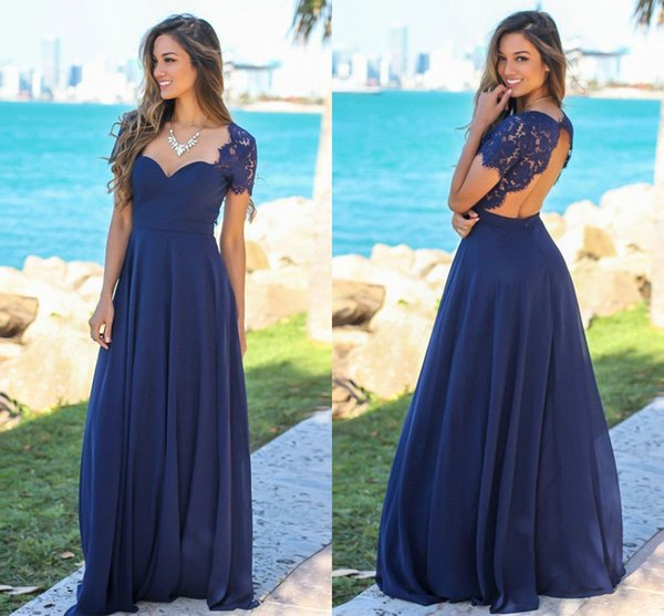 891198aa2c New Arrival 2019 Navy Blue Long Bridesmaid Dresses Lace Cap Sleeves Chiffon  Hollow Back Cheap Wedding