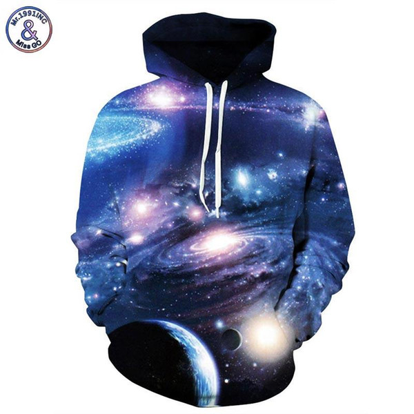 Hip Hop Space Galaxy 3d Sweatshirts With Hat Men/women Hooded Hoodies Print Planets Whirlpools Autumn Thin Hoody Pullovers