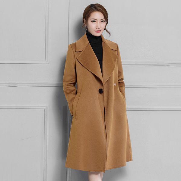 2018 Fall Winter New Women Wool Coats Full Sleeve Long Jackets Plus Size Warm Red Camel Black Coat Cashmere Manteau Femme N2A31A