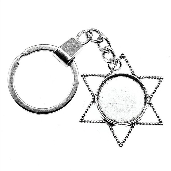 6 Pieces Key Chain Women Key Rings Fashion Keychains For Men Star Single Side Inner Size 20mm Round Cabochon Cameo Base Tray Bezel Blank