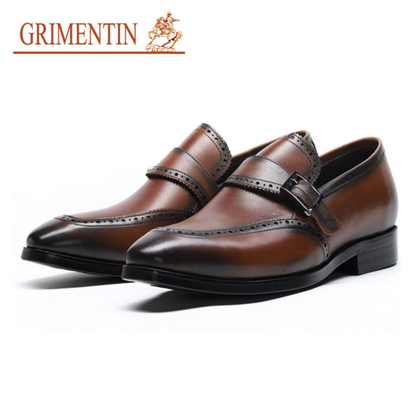 Grimentin Men Dress Shoes Slip On Italian Style Designer Buckle Formal Business Wedding Shoes Genuine Leather Pointed Toe for male YJ18