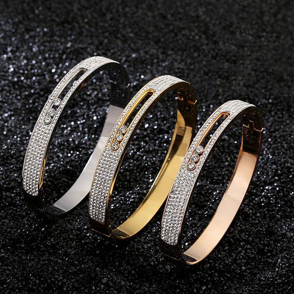 Fashion Women Full Diamond Bracelet 3 Color 18K Gold Rose Gold 316L Stainless Steel Bangle For Daily Best Gift For Anniversary