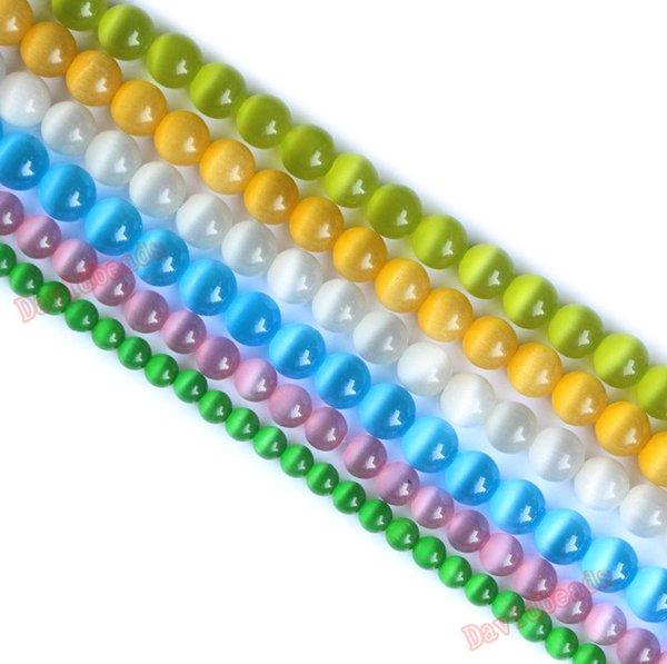 Fctory Preis Weiß BLue Gelb Rot Opal Cat Eye Perlen Lose Distanzscheibe Stein Strand 6mm 8mm 10mm 12mm Für Schmuck machen DIY
