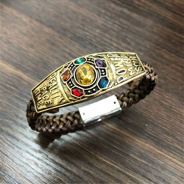 Bracelets Drop shipping Manual Compilation Avenger 3 Infinite War Thanos Bracelet Infinity Gauntlet Infinite Energy Gem Bangles