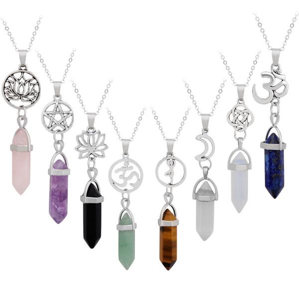 Colgantes de piedra natural Collar Cadena Colliers Mujeres Joyería de lujo Declaración Gargantillas Collares Cuarzo rosa Healing Crystals Neecklaces