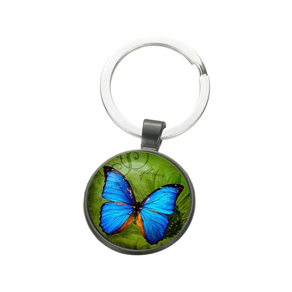 Elegant Blue Butterfly Keychain Insect Photo Glass Dome Pendant Exquisite Metal Key Ring Car Key Chain Holder Bag Charm