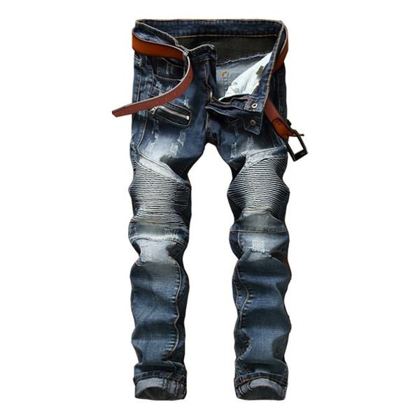 Personnalité Pantalons d'usure pour hommes Self-cultivation Elastic Blue Skinny Jeans Homme Mode