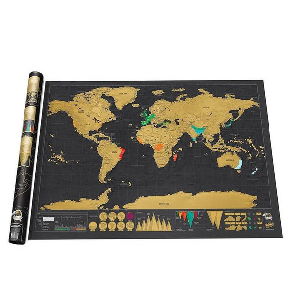 Deluxe Black World Map Travel Scrape Off World Maps Vintage Retro Home Decorative Map Toys DIY Gift Education Learning Toys