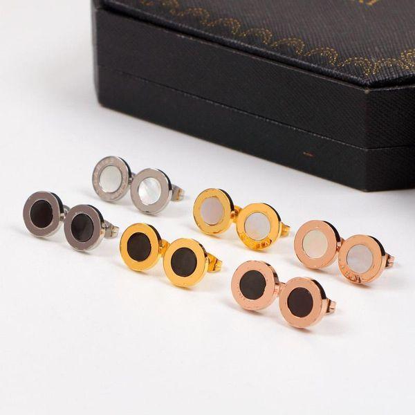 Ear stud Titanium steel Black White Sea shell Earring Rose Gold Silver female women with original box set Free shipping
