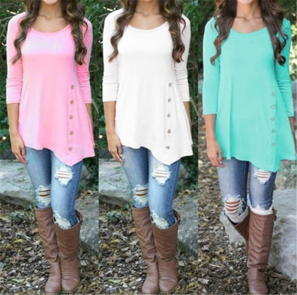 Women Sweatshirt Irregular Long Sleeve Side Decor Buttons Tee Blouse Round Neck Tops Pullover Christmas Shirts For Girls Plus size S-6XL