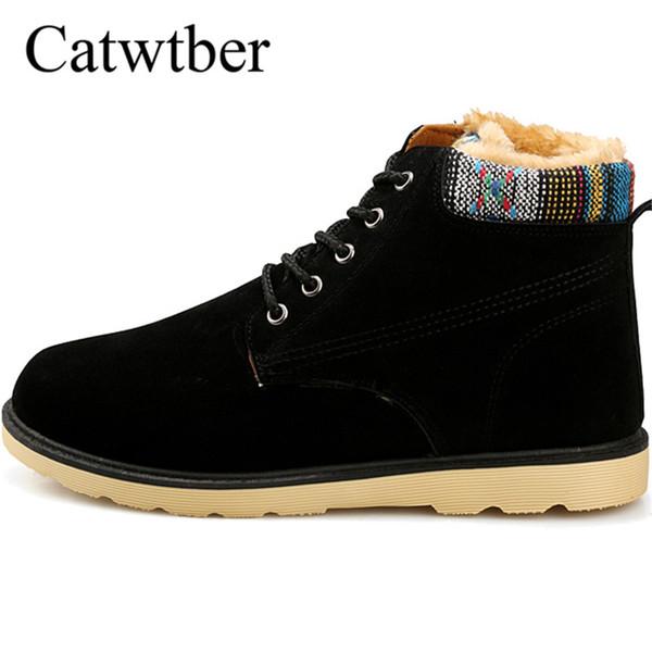 Großhandel Catwtber Herren Stiefel Mode Herbst Winter Mann Outdoor Schnee Stiefel Warm Plüsch Pelz Knöchel Arbeit Männer Casual Turnschuhe Grau