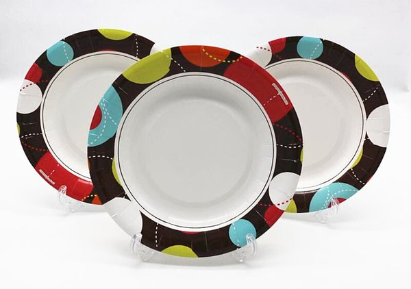 Free shipping 50pcs/lot 8 inches disposable colored paper plates Environmental printing paper plates party supplies