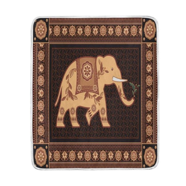 Vintage Indian Elephant Brown Blanket Soft Warm Cozy Bed Couch Lightweight Polyester Microfiber Blanket for Kids Women Boy