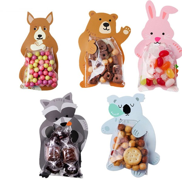 50pcs Cookie Packaging Cute Candy Rabbit Bear Fox Cartoon Plastic Bags For Biscuits Snack Baking Package With Card Head free shipping